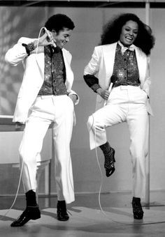 Mj and Diana Ross. I love Michael Jackson and have never seen this pic before - love it! They look so happy and dorky in their matching outfits :)