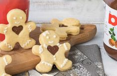 nuetlla shortbread with Thermomix frosting, recipe for delicious Christmas nutella shortbread in the shape of a little man easy to make with thermomix Nutella Ganache, Nutella Crepes, Easy Christmas Cookie Recipes, Best Christmas Cookies, Shortbread, Christmas Biscuits, Christmas Breakfast, Gluten Free Cookies, Cookies Et Biscuits