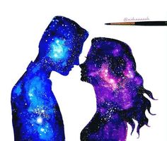 Galaxy Couple Art Print by Ahmad Illustrations - X-Small Couple Painting, Couple Art, Disney Kunst, Disney Art, Galaxy Painting Acrylic, Art Sketches, Art Drawings, Galaxy Drawings, Sky Art