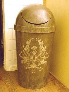 d77a5323a6dc Make A Plastic Garbage Can Look High End - by VIctoria Larsen Stencils. I m  not in love with the stencil and the