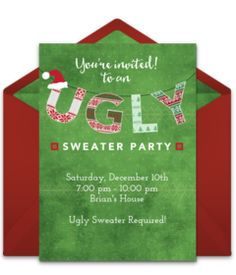 Christmas Ugly Sweater Party Fugly Sweater Red Card Christmas