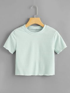 Shop Lettuce Trim Striped Crop Tee at ROMWE, discover more fashion styles online. Tee Courts, Romwe, Crop Top Outfits, Crop Tee, Things To Buy, Pull, Girl Fashion, T Shirt, How To Wear