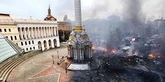 This striking composite photo from the riots in Ukraine.The lighter image on the left is of Independence Square before the riots and the seemingly post-apocalyptic half of the image was taken in the same square.
