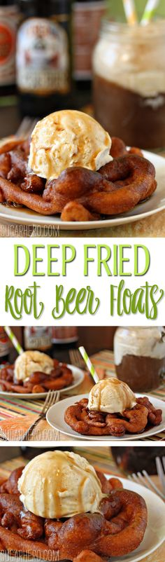 Deep Fried Root Beer Floats - like funnel cake and root beer floats had a baby! | From SugarHero.com
