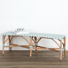 Add a pop of colour and turn your casual entertaining area into a bistro with this smart woven bench with a light cane frame. Use it for outdoor entertaining but don't leave them exposed to the elements.
