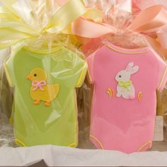 Onesie sugar cookies, royal icing hand drawn hand tied satin bows, 1/4 inch thick freezes well