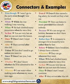 Connectors List and Example Sentences - English Grammar Here English Learning Spoken, Teaching English Grammar, English Grammar Rules, English Sentences, English Vocabulary Words, Learn English Words, English Phrases, English Idioms, English Language Learning