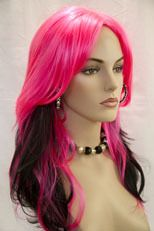 Hot Pink / Black Fun Color Long Straight Fun Color Costume Wigs on eBay!