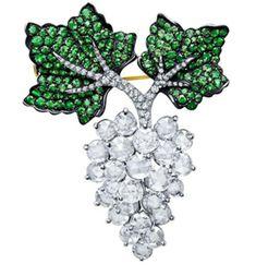 Diamond Tsavorites Grape Leaf Brooch