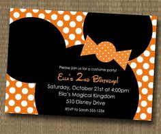 Minnie Mouse or Mickey Mouse Halloween Birthday Party Invitation - Orange Polka Dot - YOU PRINT FILE