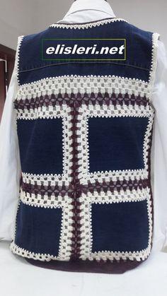 Resimli Yazılı Anlatımı ile Eski Kot Pantolondan, Yelek Yapımı Gerekli malzemeler : Eski kot pantolon – yün – yelek kalıbı – 1 ve 2.5 numara tığ – makas Yapılışı : Önceli…,  #anlat #gerekli #malzemeler #pantolon #pantolondan #resimli #yelek Crochet Hooks, Free Crochet, Crochet Top, Crochet Designs, Crochet Patterns, Recycle Jeans, Art N Craft, Crochet Jacket, Old Jeans