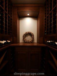 custom wine cellar with cork wreath