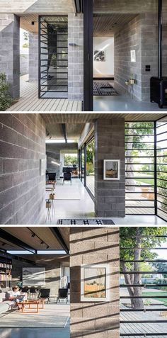 Pancho: This modern house is made from concrete blocks and a concrete roof, that both work well with the black window frames. Concrete Houses, Concrete Blocks, Contemporary Home Decor, Contemporary Architecture, House Architecture, Contemporary Wallpaper, Futuristic Architecture, Contemporary Stairs, Contemporary Landscape