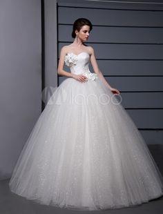 Floor-Length Sweetheart Ball Gown Flower White Wedding Dress with Beading