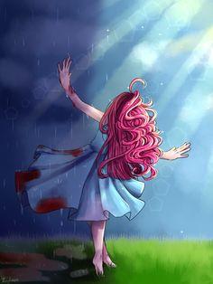 #1023176 - artist:iponylover, barefoot, blood, clothes, crepuscular rays, dress, duality, feet, humanized, pinkamena diane pie, pinkie pie, safe, solo - Derpibooru - My Little Pony: Friendship is Magic Imageboard
