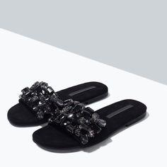 JEWEL SLIP-ON SANDALS from Zara