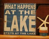 Life is better at the Lake - distressed rustic subway style wood sign - Several colors -  for your lake house, cabin, camper. $44.00, via Etsy.