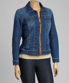 Another great find on #zulily! Medium Blue Zip-Up Denim Jacket - Plus by BACCINI #zulilyfinds