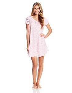 705ab4f8 Karen Neuburger Women's Touch Of Fancy Short Sleeve Henley Nightshirt,  Ditsy/Coral, Medium