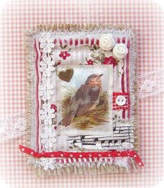 Fabric ATC: Bird by yitte, via Flickr  See other pins by PINNERS who pinned this pin. . .