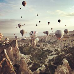 Float away with hundreds of hot air balloons in Cappadocia, #Turkey.     Photo courtesy of @ jaredkidder via Instagram