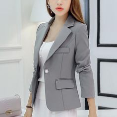 Womens Jackets And Coats Slim Fit Blazer Women Formal Jackets Office Work Notched Ladies Blazer Coat feminino abrigo mujer Formal Jackets For Women, Blazer Jackets For Women, Blazers For Women, Suits For Women, Clothes For Women, Ladies Blazers, Fit Women, Women Blazer, Ladies Suits