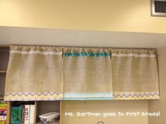 It's curtain hanging day! Here are a few of my DIY no sew burlap and chevron curtains that can be found on the back wall of my classroom.