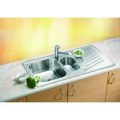 CHIUVETA DE BUCATARIE ALVEUS COLECTIA ELEGANT 110 ,INCASTRABILA DIN INOX CU O CUVA JUMATATE, INCLUS SIFON POP-UP - Iak Pop Up, Stove, Sink, Kitchen Appliances, Home Decor, Sink Tops, Diy Kitchen Appliances, Vessel Sink, Home Appliances