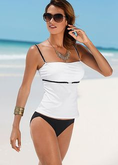 Classy black and white. Venus swim suit. TANKINI TOP, LOW RISE MODERATE BIKINI, SCOOP FRONT MODERATE BIKINI