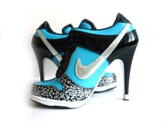 Nike Women SB Dunk High Heel Black Blue Silver