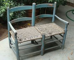 Wonderful 19th C Wagon Seat with Early Original Baby Blue Paint          eBay sold  300.00... ~♥~