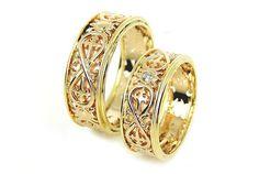 14k oro bandas de boda únicas. Únicos juego anillos de boda.