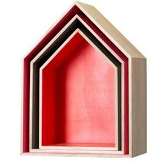 Bloomingville Set of three red wooden house storage boxes- at Debenhams Mobile