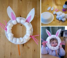 Paper plate bunny rabbit masks - Easter crafts for toddlers and preschoolers - L. - Paper plate bunny rabbit masks - Easter crafts for toddlers and preschoolers - L. Easter Arts And Crafts, Easter Crafts For Toddlers, Daycare Crafts, Bunny Crafts, Easter Crafts For Kids, Spring Crafts, Preschool Crafts, Holiday Crafts, Rabbit Crafts