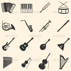Vector Set of 16  Musical Instruments Icons  #GraphicRiver         file types: jpg, eps     Created: 13November13 GraphicsFilesIncluded: JPGImage #VectorEPS HighResolution: No Layered: No MinimumAdobeCSVersion: CS Tags: accordion #akkardeon #app #clipart #collection #design #drum #horn #iconset #icons #illustration #image #infographic #isolated #music #musicicon #musicalinstruments #nobody #object #saxophone #series #set #sign #silhouettes #symbol #trumpet #tuningfork #variation #vector…