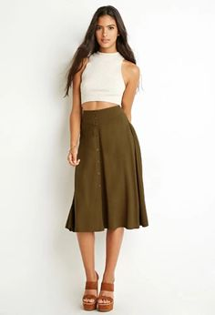 Button-Front A-Line Skirt | Forever 21 | #foreveryou