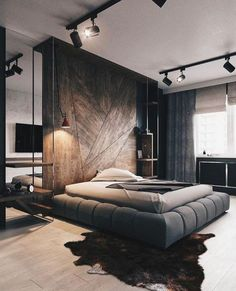 Stunning modern bedroom in dark tones for the modern home