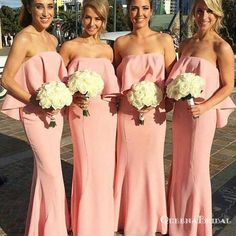 ee2e14cbc415 Simple Pink Strapless Sleeveless Long Satin Bridesmaid Dresses