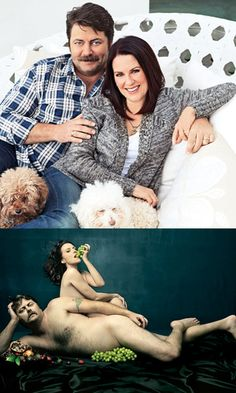 Two very funny people. Megan Mullally and Nick Offerman. I. LOVE. THEM.