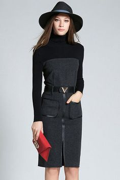 $51.99 Dark Grey Pockets Slit Turtleneck Dressproducts_id:(1000012959 or 1000012272 or 1000012619 or 1000012396)