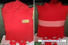 """Up-cycled sweatshirt into a """"hoodie pillow"""". Made for $4.00, other place sells them for $51.00."""