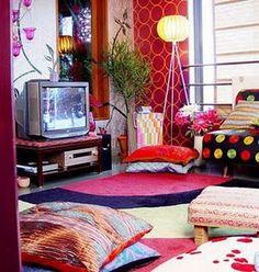 Una sala de estilo boho - chic