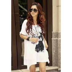 Women's Cotton+Polyester Dress With Scoop Neck Short Sleeve Asymmetric Hem Design