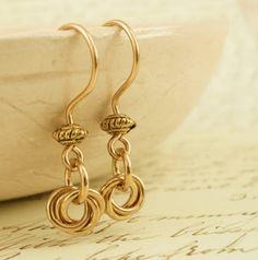 Brass Earrings -  Little Cutties by unkamengifts on Etsy, $10.00