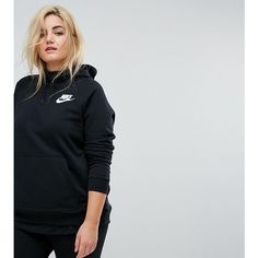 Nike Plus Rally Pullover Hoodie In Black ($62) ❤ liked on Polyvore featuring tops, hoodies, black, plus size, women's plus size hooded sweatshirts, hooded pullover sweatshirt, hoodie pullover, plus size hoodie and sweatshirt hoodies