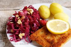 Breaded Tempeh Schnitzel with Red Cabbage