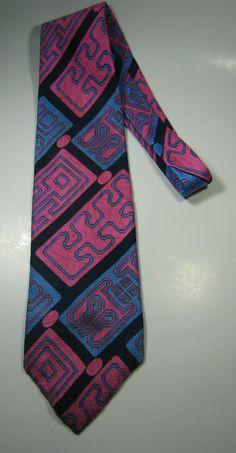 HUGHES & HATCHER Rich Pink Navy Light Blue Geometric Wide Vtg Tie RARE #hugheshatcher #NeckTie