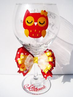 Chi Omega Owl Wine Glass