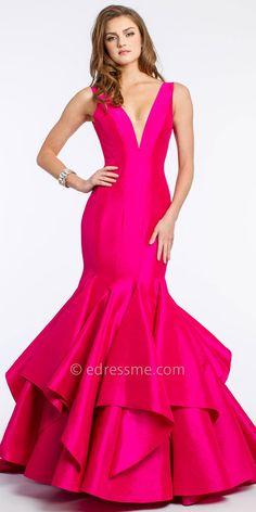 V-Neck Taffeta Mermaid Prom Dress by Jovani