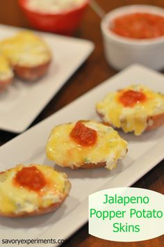 Jalapeno Popper Potato Skins Recipe- Blend two favorite apps- potato skins and jalapeno poppers! Cream cheese blended with fresh jalapenos, cheddar cheese and salsa. Serve sour cream on the side! Braai Recipes, Recipes Appetizers And Snacks, Easy Appetizer Recipes, Yummy Appetizers, Snack Recipes, Cooking Recipes, Appetizer Ideas, Kitchen Recipes, Salad Recipes